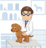 Kreskówka weterynaryjny egzamininuje pies ilustracja wektor