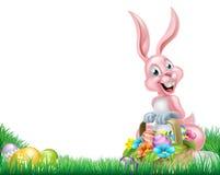 Kreskówka Wielkanocnego królika jajka kosz ilustracji