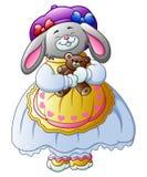 Kreskówka Wielkanocny królik niesie kosz jajka pełno royalty ilustracja