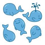 Kreskówka wieloryba set ilustracji