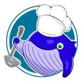 Kreskówka wieloryba szef kuchni royalty ilustracja