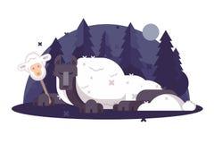 Kreskówka wilk w sheeps odziewa płaskiego plakat royalty ilustracja