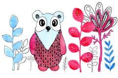 Kreskówka wizerunek panda do granicy Rysujący w akwareli i grafiki stylu dla projekta druki, tła, karty ilustracja wektor