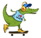 Kreskówka wizerunek zadziwiający jeździć na deskorolce aligator ilustracja wektor