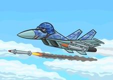 Kreskówka wojownik podpala rakietę Zdjęcie Royalty Free