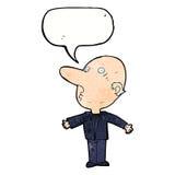 kreskówka wprawiać w zakłopotanie w średnim wieku mężczyzna z mowa bąblem Zdjęcie Royalty Free