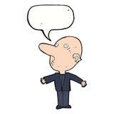 kreskówka wprawiać w zakłopotanie w średnim wieku mężczyzna z mowa bąblem Zdjęcia Stock
