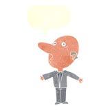 kreskówka wprawiać w zakłopotanie w średnim wieku mężczyzna z mowa bąblem Zdjęcia Royalty Free