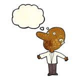 kreskówka wprawiać w zakłopotanie w średnim wieku mężczyzna z myśl bąblem Zdjęcia Stock