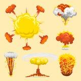 Kreskówka wybuchu huku skutka animaci sprite gemowy prześcieradło wybucha wybuchu wybuchu ogienia płomienia wektoru komiczną ilus ilustracji