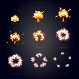 Kreskówka wybuchu skutek z dymem huk, wybucha błyskową komiczki ramę ilustracja wektor