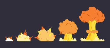 Kreskówka wybuchu skutek z dymem Wykonuje huku, wybucha błysk, bombowy komiks, wektorowa ilustracja Animacja dla fotografia royalty free