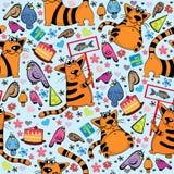 Kreskówka wzór z kotami i ptakami Zdjęcie Stock