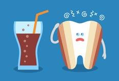 Kreskówka ząb z szkłem soda ilustracji