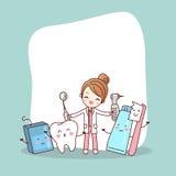 Kreskówka zębu przyjaciel z dentystą ilustracja wektor