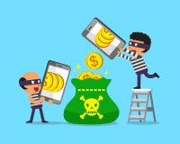 Kreskówka złodzieje używa smartphones zarabiać pieniądze Obraz Royalty Free