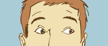 Kreskówka Zaskakiwał mężczyzna ` s Górną twarz z oczami patrzeją popierać kogoś Fotografia Stock