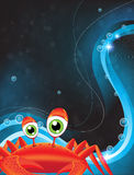 Kreskówka zielonooki krab ilustracji
