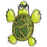 Kreskówka zielony żółw w dziecięcym naif doodle rysunku stylu Zdjęcia Royalty Free