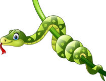 Kreskówka zielony wąż na gałąź royalty ilustracja