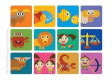 Kreskówka znaki zodiak Fotografia Royalty Free