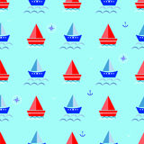 Kreskówki łódź, żaglówki tła wektoru błękitna ilustracja Ilustracji