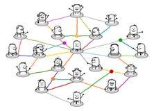 Kreskówki łączący ludzie na dużej ogólnospołecznej sieci ilustracji