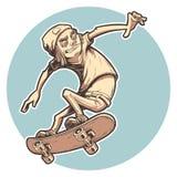kreskówki łyżwiarki chłopiec ilustracji