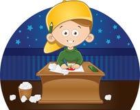 Kreskówki śliczna chłopiec rysuje obrazek w jego pokoju Zdjęcia Stock