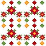 Kreskówki śliczna czerwień kwitnie bezszwowego wzór z geometrycznym elementem Fotografia Royalty Free