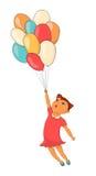 Kreskówki śliczna dziewczyna z balonem odizolowywającym ręka patroszona Obrazy Royalty Free
