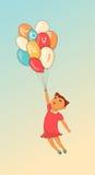 Kreskówki śliczna dziewczyna z balonem ręka patroszona Zdjęcia Royalty Free