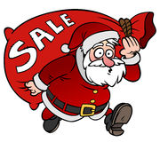 Kreskówki Święty Mikołaj charakter z torby sprzedażą odizolowywającą Fotografia Stock