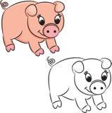 Kreskówki świnia książkowa kolorowa kolorystyki grafiki ilustracja Obrazy Royalty Free