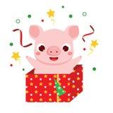 Kreskówki świnia, symbol chińczyk 2019 nowy rok w prezenta pudełku fotografia stock