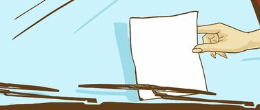 Kreskówki Żeńska ręka Bierze prześcieradło papier Od Auto przedniej szyby Obraz Royalty Free