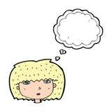 kreskówki żeńska twarz z myśl bąblem Fotografia Stock