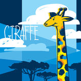 Kreskówki żyrafa w sawannie Zdjęcia Royalty Free