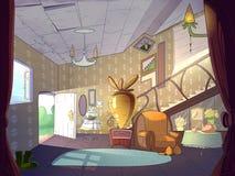 Kreskówki żywy izbowy wnętrze ilustracja wektor