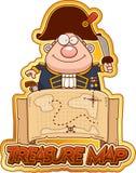 Kreskówki Admiral skarb mapa ilustracja wektor