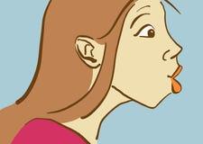 Kreskówki Ładna dziewczyna Robi twarzy, strony Viev profil Obraz Royalty Free