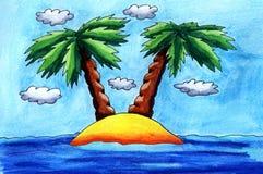Kreskówki akwareli Tropikalna wyspa ilustracji