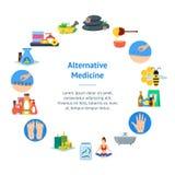 Kreskówki Alternatywnej medycyny sztandaru karty okrąg wektor ilustracja wektor