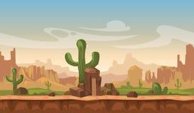 Kreskówki America prerii pustyni krajobraz z kaktusem, wzgórzami i górami, gemowy bezszwowy wektorowy tło Zdjęcie Royalty Free