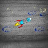 Kreskówki astronautyczna rakieta Obrazy Royalty Free