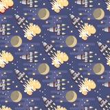 Kreskówki astronautyczna rakieta Wektorowy niebiański bezszwowy wzór royalty ilustracja