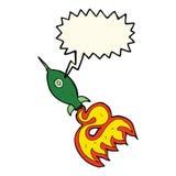 kreskówki astronautyczna rakieta z mowa bąblem Obrazy Stock