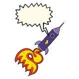 kreskówki astronautyczna rakieta z mowa bąblem Obrazy Royalty Free