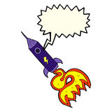 kreskówki astronautyczna rakieta z mowa bąblem Zdjęcie Royalty Free