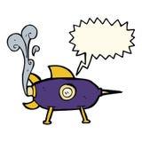 kreskówki astronautyczna rakieta z mowa bąblem Fotografia Stock